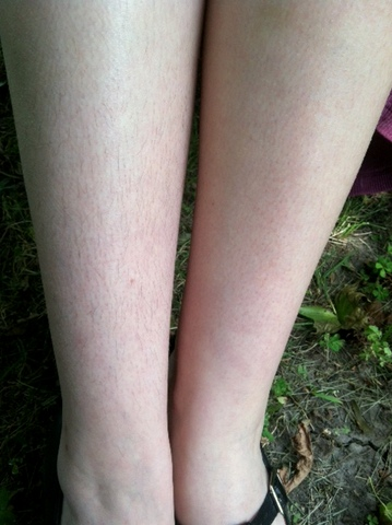 Shaved pussy scared legs think