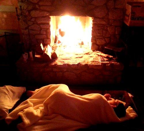 Sooo cozy soft blanket, warm fire, oooh!
