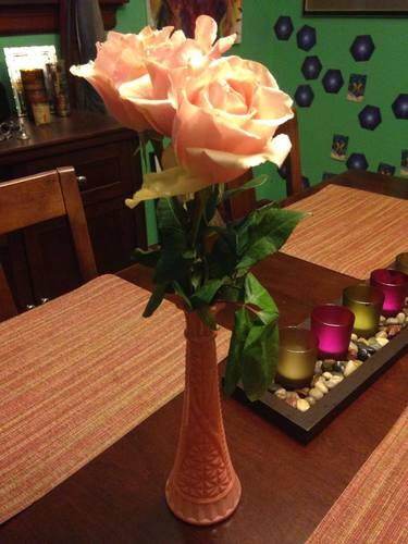 My dining room - flowers from a friend!