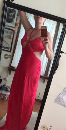 Red silk gown from Victoria's Secret